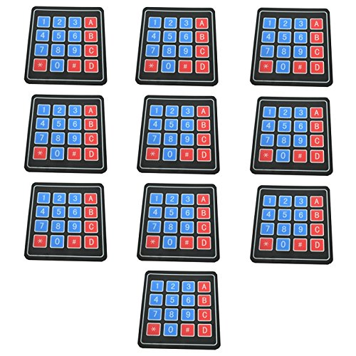 Optimus Electric 10pcs 4x4 Membrane Switch Matrix Keypad Thin and Flexible with Adhesive Back for Easy Surface Attachment from (Switch Custom Light)