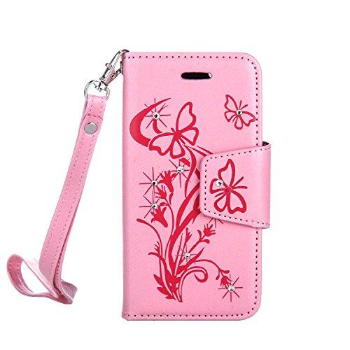 MOONCASE IPhone 5G / 5S / SE Coque, Faux Diamant Papillon Gaufrage Dessin Motif Étui Housse en Cuir à rabat Coque de Portefeuille Porte-Cartes TPU Case avec Béquille pour iPhone 5 / 5S / iPhone SE Ros Rose