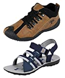 Chevit Men's Combo Pack of 2 Sports Shoes & Sandals (Running Shoes & Floaters) CB-423+601-9