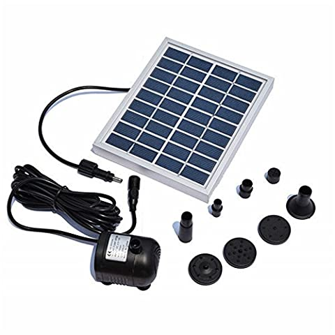 Solar Pump Fountain Waterfall,Yunplus 9V 5W Solar Powered Panel Kit Pool Garden Watering Submersible Pump Easy Install