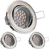 3er LED Einbaustrahler Set Bicolor (chrom / gebürstet) mit LED GU10 Markenstrahler von LEDANDO - 5W DIMMBAR - warmweiss - 60° Abstrahlwinkel - schwenkbar - 50W Ersatz - A+ - LED Spot 5 Watt - Einbauleuchte LED rund