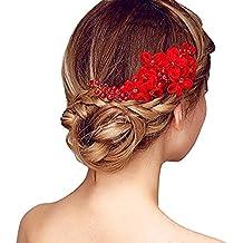 Pixnor Fiori fatti a mano lato capelli pettine copricapo da sposa matrimonio  accessori rosso cdc3140a0639