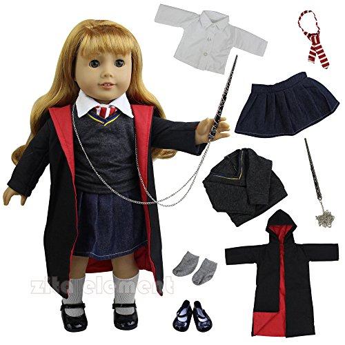 Puppenkleidung Magic Mantel Hemd Krawatte mit Schuhe kleider Set für 18 zoll American Girl und die anderen 45-46cm Puppen für Karneval und Halloween Deko (Halloween-puppen Für Kinder)