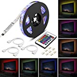 Striscia led TV,Furado 2m 5V SMD 5050 Strisce LED USB,IP65 Impermeabile led Strip GRB Multicolore LED TV Retroilluminazione con 24 Tasti Telecomando per TV,PC Monitor e Festa di Natale