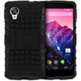 Fosmon HYBO-RAGGED Hybrid Dual Layer Heavy Duty Case Cover With Stand Function for New Google Nexus 5 / LG Nexus 5 2013 - Fosmon Retail Packaging (Black)
