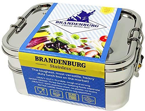 Brandeburgo classic stainless steel bento box, eco-friendly lunch box contenitore per alimenti, 3-in-1-taglia extra large, spuntini, design compatto, bambino e adulto amichevole