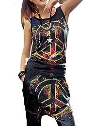 ELLAZHU Femme Mince Hippie Signe Personnalisé&Leopard Print Tank Top Taille Unique GK83