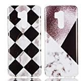 "YKTO Custodia LG G7 / G7 ThinQ (2018) 6.1"" Marmo Colorate Effetto Cover Ultra Sottile Morbida Silicone Case Brillantini [2 Pack] Belle Anti Scivolo Antiurto Colore Caso Posteriore Quadrilatero"