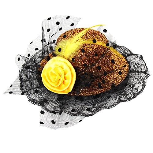 JUSTFOX - Glitzer Mini Hut mit Blume und Rüschen Verzierung Karneval Mütze (Gold Gelb)
