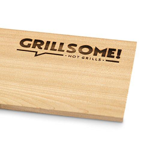 519BanGYeBL - 10 Räucherbretter aus kanadischem Zedernholz (30 x 14 x 0,8 cm) von Grillsome! Grillbretter, Grill-Planken 10er-Set (2 x 5er Set glatte und raue Oberfläche) unbehandelt, Grillzubehör für BBQ