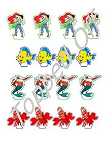 Little Mermaid Cake Decorating Kit Uk : 16 Little Mermaid edible cup cake topper decorations by ...