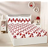 Amazon Brand - Solimo Tulip Twirl 144 TC 100% Cotton Double Bedsheet with 2 Complimentary Pillow Covers - Red