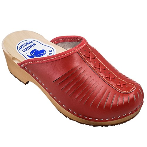 ESTRO Zuecos De Madera para Mujer Calzado Sanitario De Trabajo CDL01 (39, Rojo)