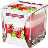 Dreifarbige Duftkerzen im Glas Bispol Erdbeere Brenndauer ca 32h