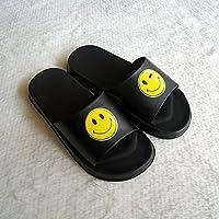 fankou Sandalias de Verano Cara Sonriente Femenino Parejas Creativas Estancia Baño Interior y Exterior Antideslizante Cartoon Estudiante Varón Cool Zapatillas,42, Negro