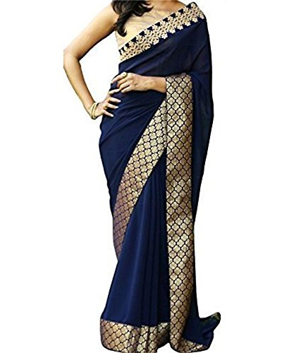 Indian-Beauty-Womens-Blue-Georgette-Golden-Zari-Banarasi-Silk-Border-Saree-With-Blouse