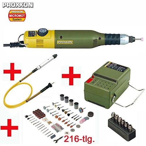 Preisvergleich Produktbild PROXXON MICROMOT Multitool 50 E Set mit Drehzahlsteuerung - inklusive Netzgerät, PROXXON Biegewelle 110/BF mit Bohrfutter, Spannzangenset und 216-tlg. SILVERLINE Zubehörset