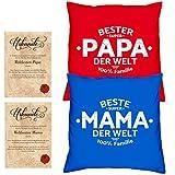 Soreso Design Hochzeitstag Geschenk für Mama und Papa -:- 2 Kissen mit Füllung plus 2 Urkunden im Set -:- Beste Mama der Welt in royal-blau - Bester Papa der Welt in rot