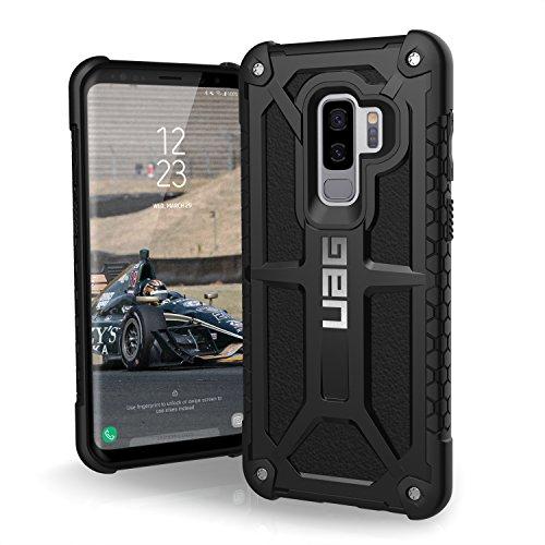 Urban Armor Gear Premium Monarch Schutzhülle nach US-Militärstandard für das Samsung Galaxy S9+ (Midnight schwarz) [Verstärkte Ecken, Sturzfest, Leder, Strukturierter Rahmen] - GLXS9PLS-M-BLK