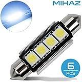 MIHAZ 6 x Coche Dome 5050 SMD LED Canbus Bombilla Luz Interior Festoon LED 42MM Blanco