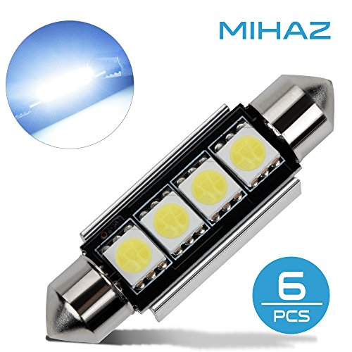 Mihaz 6 x cupola dell'automobile 5050 SMD LED Canbus lampadina interna del festone LED 42MM Bianco