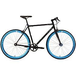 """KS Cycling Fixie - Bicicleta de carretera, color negro / azul, ruedas 28"""", cuadro 56 cm"""