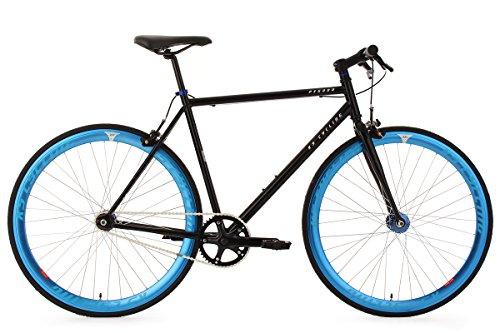 KS Cycling Fixie – Bicicleta de carretera, color negro / azul, ruedas 28″, cuadro 56 cm