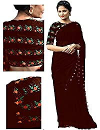RV Creation Women's Latest Designer Ethnic Wear Brown Color Georgette Saree With Embroidered Blouse