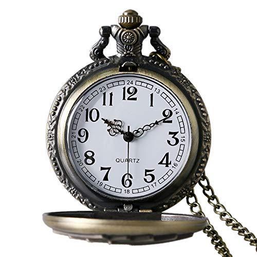 Avaner Reloj de Bolsillo Vintage Retro Póker Grabado para Buena Fortuna Royal Flush, Bronce Reloj Cuarzo...