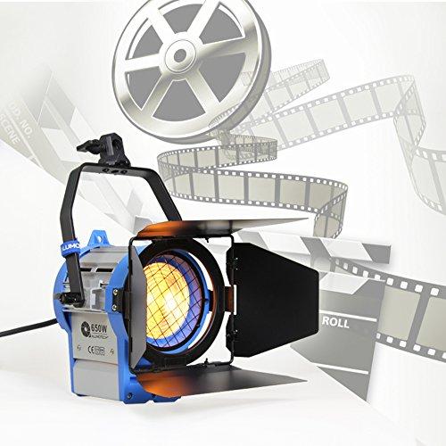 Alumotech 650 vatios Fresnel Tungsteno Foco Lámpara Atenuador Incorporado Cable Atenuación Studio Video Luz para la cámara de Iluminación Compatible + Globos + Barndoor