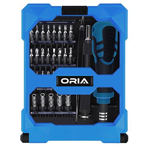 Preisvergleich Produktbild ORIA 34 in 1 Schraubenzieher Set, Magnetisch Werkzeugset mit 24 Bits, Griff, Pinzette & Verlängerung Bar, Perfekt für Handy, Computer, PS4, Tablet und Elektronische Geräte, etc.