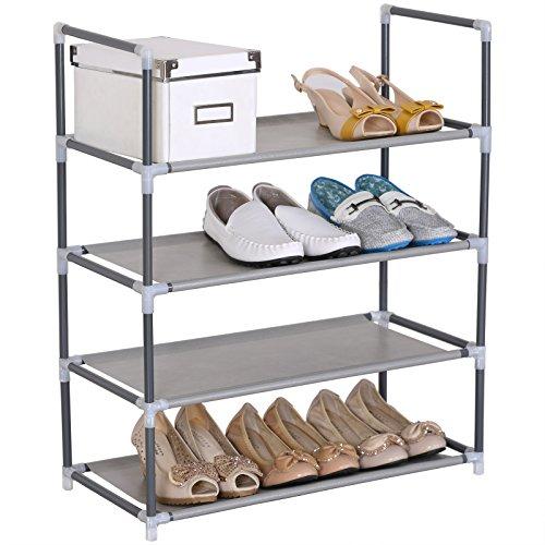 Woltu sr0007 scarpiera semplice porta scaffale 4 ripiani in acciaio inossidabile tessuto impermeabile per 12 paia di scarpe grigio 60x28x71cm