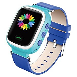 GBD Kids Smart Watch with SIM card GPS Color LCD Smartwatch for Kids Child Anti Lost Tracker Location SOS for iOS Android Apple iPhone App Pink Blue