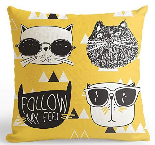 HLZLA Cartoon Katzenkissen Brillen Niedlichen Tier Plüsch Kissen Kreative Gestreifte Punkte Für Kinderzimmer Dekoration1 (Halloween-punkt Zu Punkt Harte)