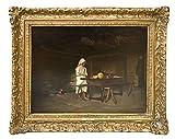 (Villefranche 1845 - Paris ?). Küchenmagd. Öl auf Holz. (Um 1875). Unten rechts signiert 'L. Robin'. 35 x 45 cm. Im goldfarbenen Barockrahmen mit Messingschildchen.