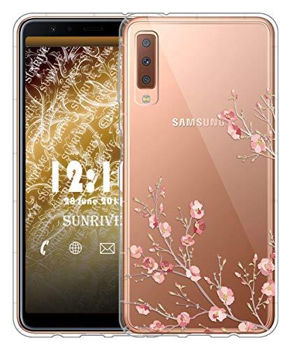 Sunrive Für Samsung Galaxy A7 (2018) Hülle Silikon, Transparent Handyhülle Luftkissen Schutzhülle Etui Case für Samsung Galaxy A7 (2018) A750(TPU Blume)+Gratis Universal Eingabestift