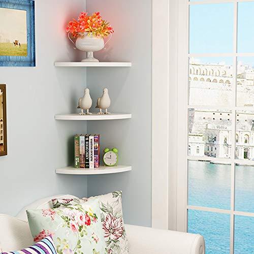 Baffect set di 3 mensole a muro angolari, 22 cm mensola mobile ad angolo mensola a muro in legno per soggiorno camera da letto bagno cucina ufficio casa arredamento (m)