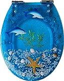 Ocean Series Art resina asiento para inodoro con tapa de cierre lento, 3d efectos resistente tapa de inodoro con diseño de delfín, estrella de mar, de concha marina real Arenas, vainilla y para U/V/O tipo para inodoro con tapa, alargado