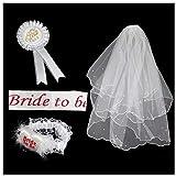 4pcs Velo de Novia + Bride to be Insignia Liga para Disfraces de Fiesta de Despedida de Soltera Novia a Ser Velo Corto Gallina Noche