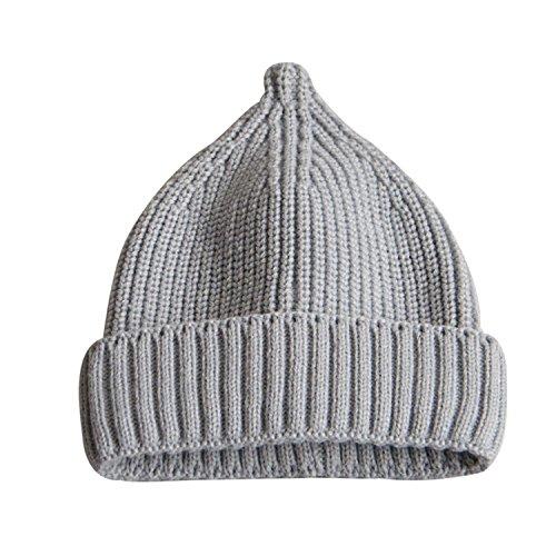 Pingenaneer Kindermütze Strickmütze Herbst Winter Mütze Stretchy Warme Beanie Nippel-Stil für Baby Kinder M(Einstellbare Größe: 54-56cm) - Grau (Einstellbar Grau Hut)