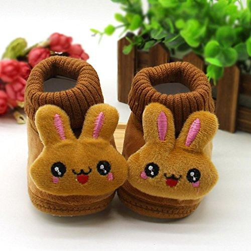 Ularma Enfant En Bas âge Nouveau-né Bébé Dessin animé Lapin Chaussures Semelle souple Prewalker Chaud Chaussures Café