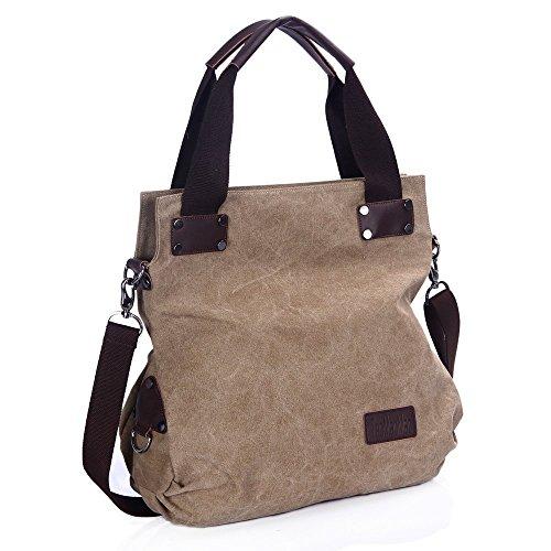 Minetom Damen Canvas Schultertasche Casual Umhängetasche Handtasche Für Einkaufen Reisen Khaki