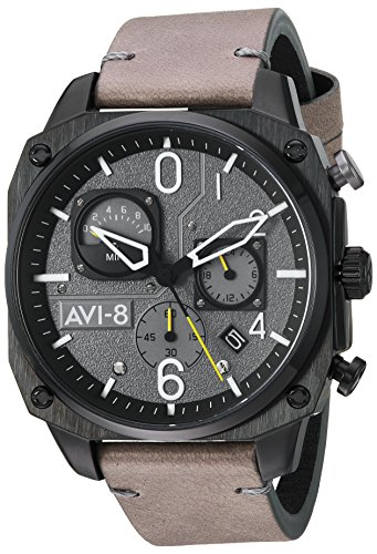 AVI-8 Men's AV-4052 Hawker Hunter Analog Display Japanese Quartz Watch with Leather Band