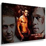 Bild auf leinwand Brad Pitt Fight Club Bild 100x70cm/Leinwandbild fertig auf Keilrahmen/Leinwandbilder, Wandbilder, Poster, Pop Art Gemälde, Kunst - Deko Bilder