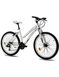 KCP - TOVIAN Bicicleta de montaña para mujer, tamaño 26'' (66,0 cm), color blanco, 21 velocidades Shimano