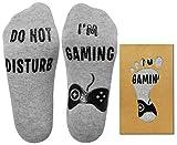 Tuopuda 'No molestar' Gran regalo para gamers Navidad Carta del día de San Valentín Imprimir Divertido Novedad Calcetines cómodos y suaves para el tobillo Calcetines Divertidos (Gris 2 pares)