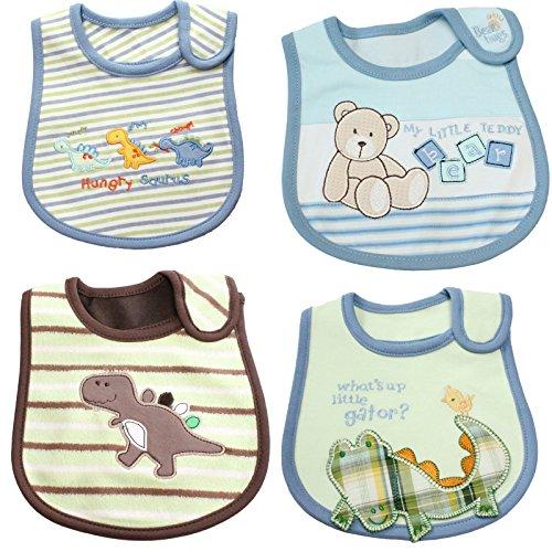 Neonati bambino 4-confezione da in cotone blu bavaglini set regalo coordinata - fantasia animali - Zoo Blu Animali