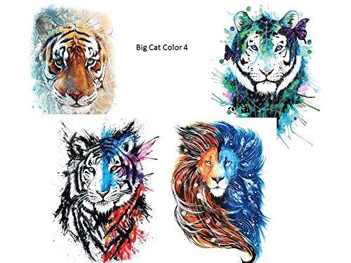 4sheets tiger leone tatuaggio colorato braccio braccio tattoo tatuaggio falso big cat color 4