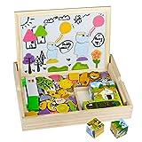 Akokie Magnetisches Holzpuzzles, Holz Würfel Puzzle, 3D-Puzzles, 9 Stück Würfel Blöcke + 123 Stük Holz Waldtiere für Jungen Mädchen 3 4 5 6