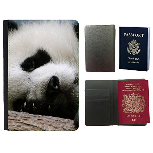 PU Pass Passetui Halter Hülle Schutz // V00003825 Schlaf Panda // Universal passport leather - Cover Passport Panda